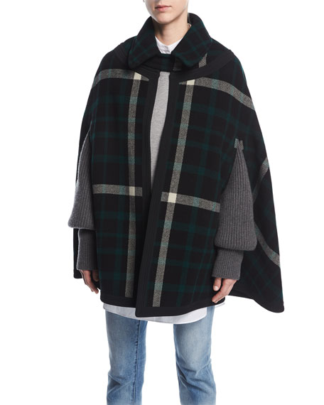 Burberry Ashwicken Wool Check Cape