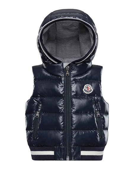 Moncler Larry Hooded Sleeveless Vest, Size 12M-3T