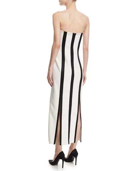 Strapless Striped Structured Midi Dress