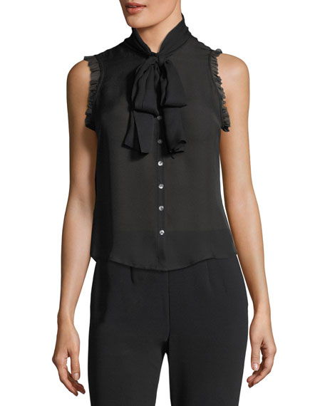 Eri Tie-Neck Button-Front Sleeveless Silk Blouse