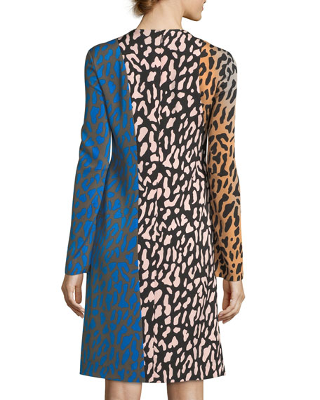 Long-Sleeve Bias Fitted Silk Dress