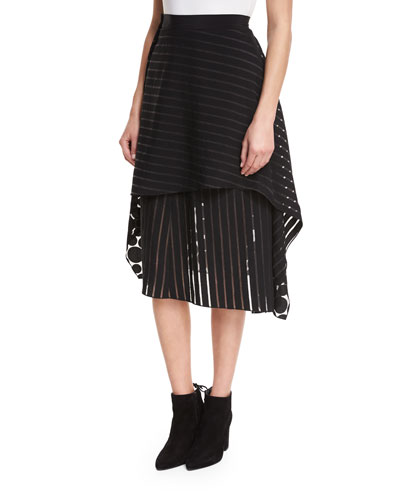 Front Ruffle Circles & Stripes Layered Midi Skirt and Matching Items
