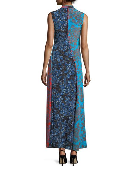 Sleeveless Paneled Bias-Cut Floor-Length Dress
