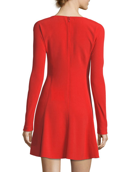 Long-Sleeve V-Neck Fit-and-Flare Mini Dress