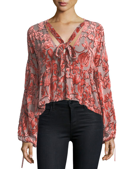 Caprina Tie-Neck Velvet Burnout Top