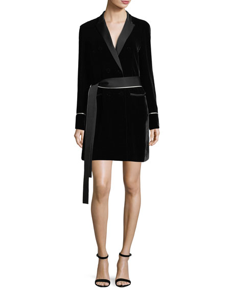 GREY BY JASON WU TIE-WAIST VELVET TUXEDO SHIRTDRESS