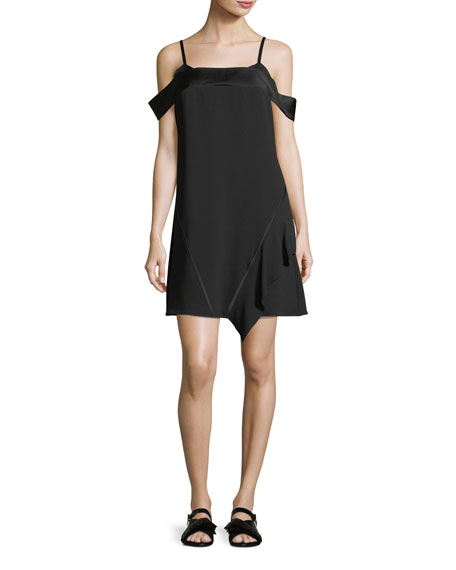 Satin-Backed Crepe Cold-Shoulder Dress