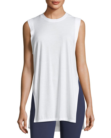 Breathe Crewneck Sleeveless Side-Slit Tunic Tank