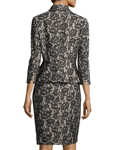 Velvet Lace Peplum Jacket w/ Pencil Skirt