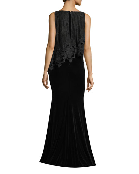 Badgley mischka bateau neck sleeveless lacevelvet evening gown bateau neck sleeveless lacevelvet evening gown junglespirit Gallery