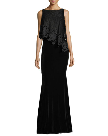 Badgley Mischka Bateau-Neck Sleeveless Lace/Velvet Evening Gown