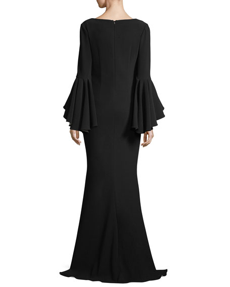 Scoop-Neck Bell-Sleeve Column Crepe Evening Gown
