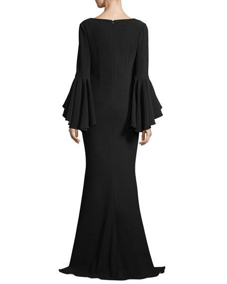 Scoop-Neck Bell-Sleeve Column Crepe Evening Gown
