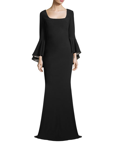 Badgley Mischka Scoop-Neck Bell-Sleeve Column Crepe Evening Gown