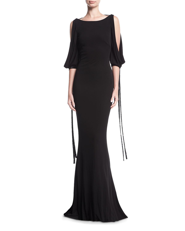 Badgley Mischka Puddle-Hem Draped Tie-Sleeve Jersey Evening Gown ...