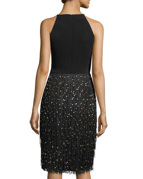 Sleeveless Halter Cocktail Dress w/ Fringe Beaded Skirt