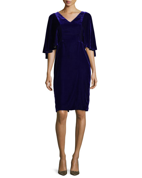 Badgley Mischka V-Neck Cape Sleeve Velvet Cocktail Dress