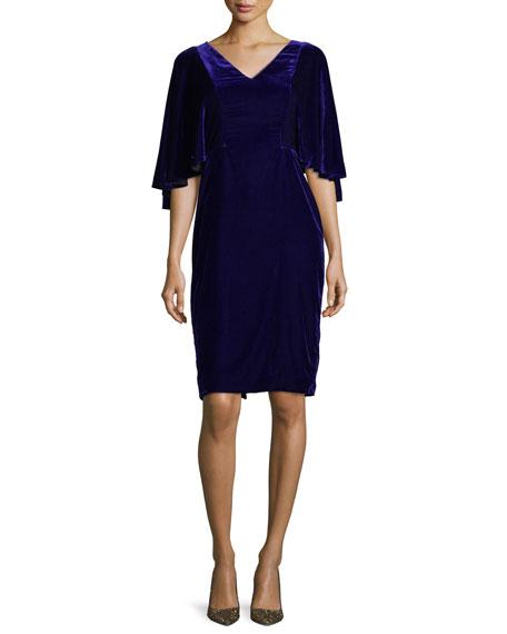 Badgley Mischka V-Neck Cape Sleeve Velvet Cocktail Dress