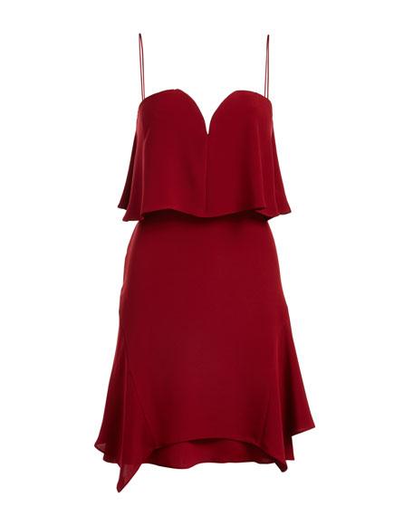 Trina Sweetheart Tiered Silk Cocktail Dress