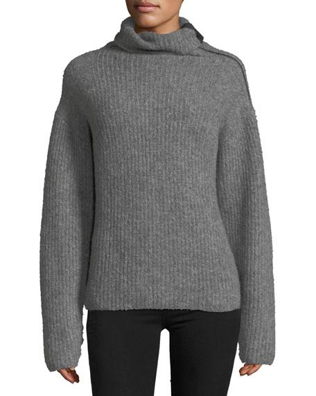 Lyza Zip-Neck Long-Sleeve Ribbed Wool-Blend Sweater