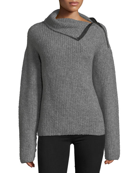 Rag & Bone Lyza Zip-Neck Long-Sleeve Ribbed Wool-Blend