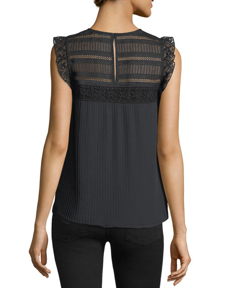 Dani High-Neck Pleated Blouse w/ Lace