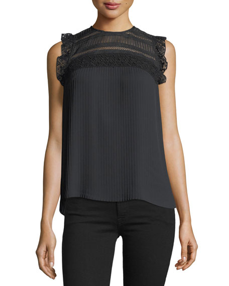 Rebecca Minkoff Dani High-Neck Pleated Blouse w/ Lace