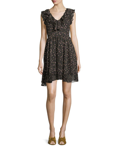 Brista Floral-Print V-Neck Mini Dress