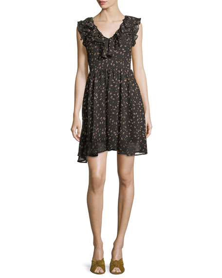 Rebecca Minkoff Brista Floral-Print V-Neck Mini Dress