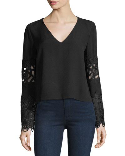 Carol V-Neck Long-Sleeve Crepe Top w/ Embroidery
