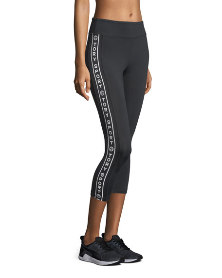Side-Stripe Cropped Performance Leggings