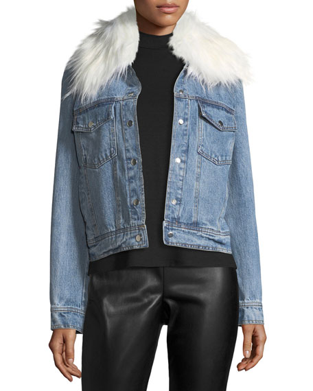 Bagatelle Removable Faux-Fur-Collar Denim Trucker Jacket