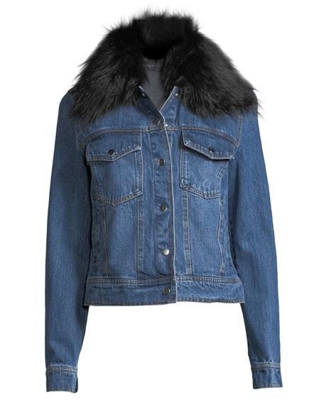 Removable Faux-Fur-Collar Denim Trucker Jacket