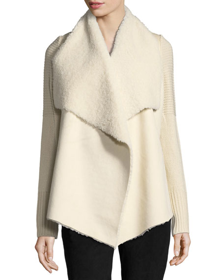 Faux-Shearling Knit-Trim Jacket