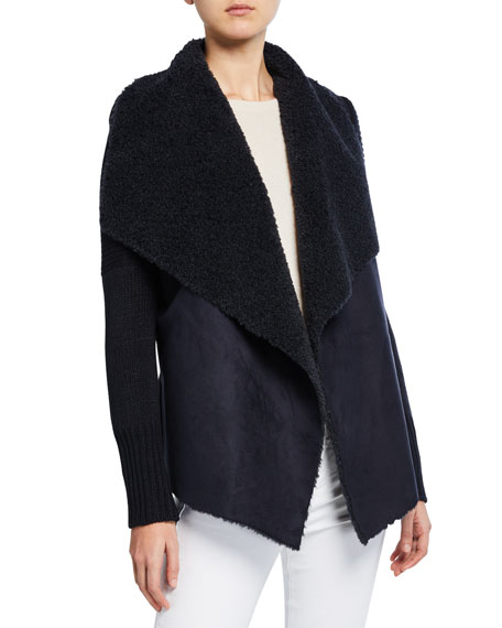 Bagatelle Faux-Shearling Knit-Trim Jacket
