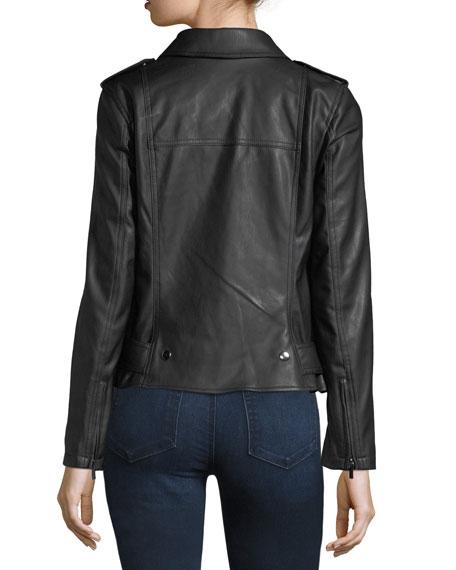 Belted Faux-Leather Biker Jacket