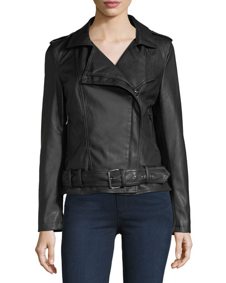 Belted Faux-Leather Biker Jacket