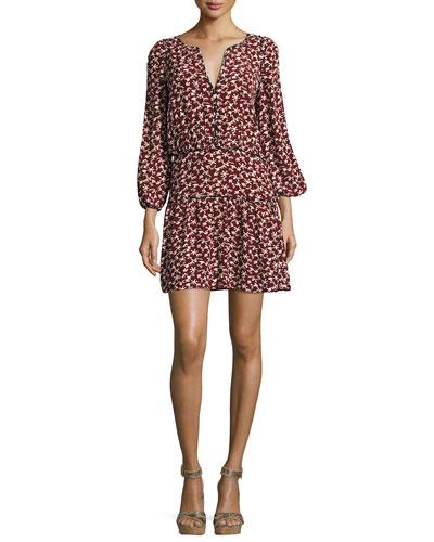 Catarina Split-Neck Printed Dress