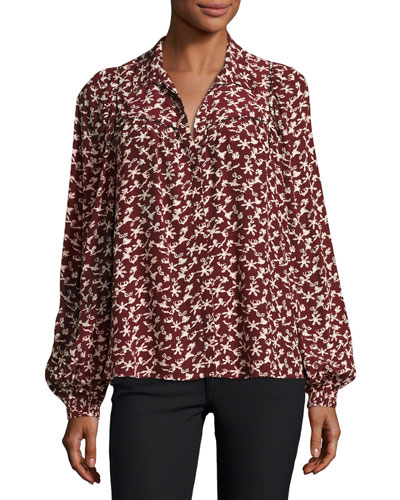 Collin Button-Front Printed Long-Sleeve Top
