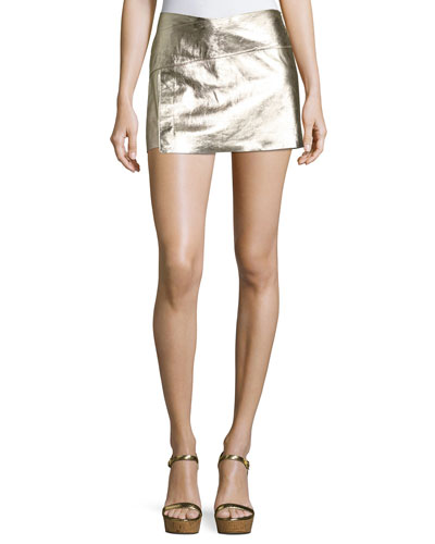Yruce Metallic Leather Mini Skirt