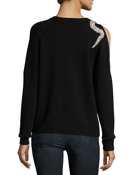 Ossie Crewneck Cold-Shoulder Wool Sweater w/ Embellishment