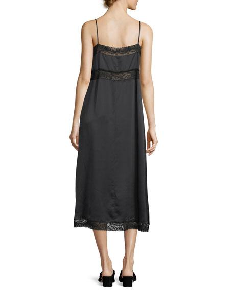 Square-Neck Silk Slip Dress w/ Lace Trim