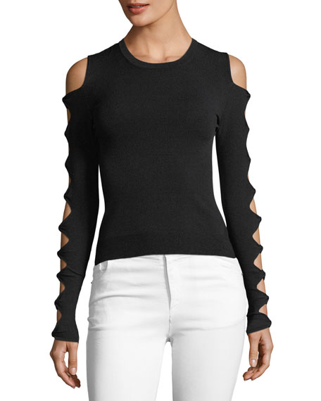 Autumn Cashmere Slash-Sleeve Crewneck Sweater