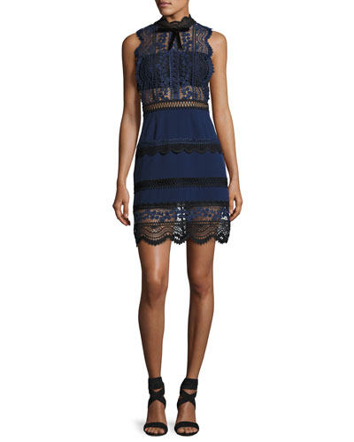 Bellis Sleeveless High-Neck Lace Sheath Dress