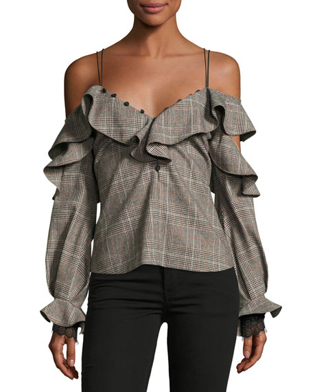 Off-the-Shoulder Check Wool Frill Top