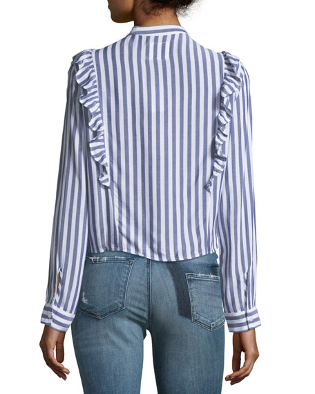 Piper Button-Front Striped Top