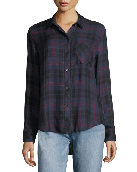 Rails Hunter Button-Front Plaid Shirt with Metallic