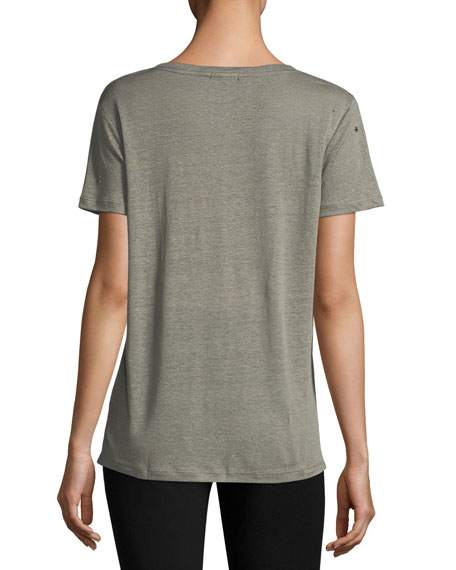 Cara V-Neck Linen-Blend Tee with Studs