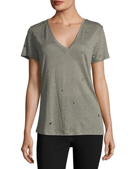 Rails Cara V-Neck Linen-Blend Shirt with Studs