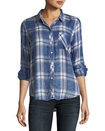 Hunter Button-Front Plaid Shirt